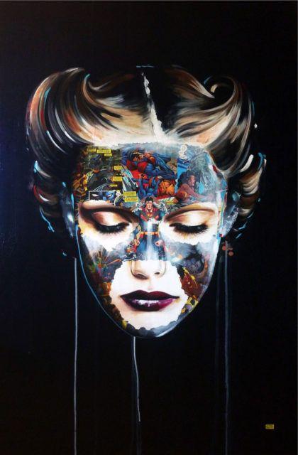 Sandra Chevrier La Cage painting black