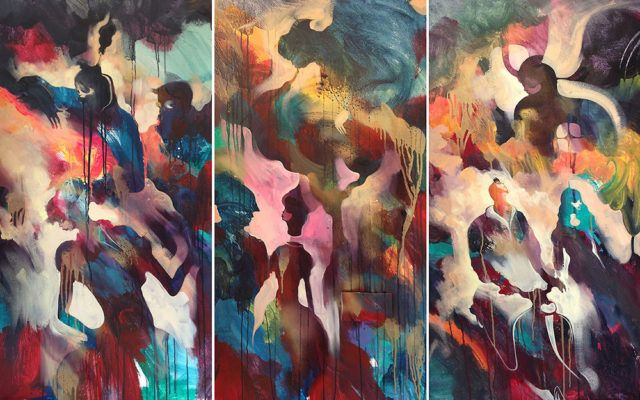 WILL BARRAS triptych painting